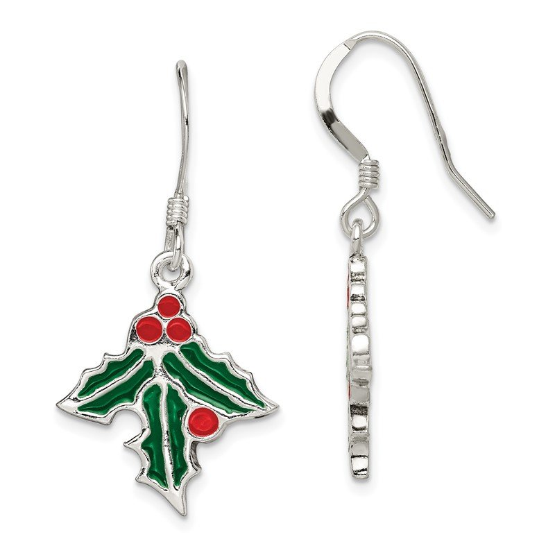 Quality Gold Sterling Silver Enameled Holly Earrings