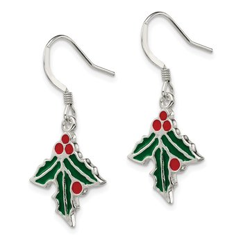 Sterling Silver Enameled Holly Earrings