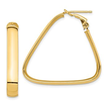 14k High Polished 5mm Omega Back Triangle Hoop Earrings