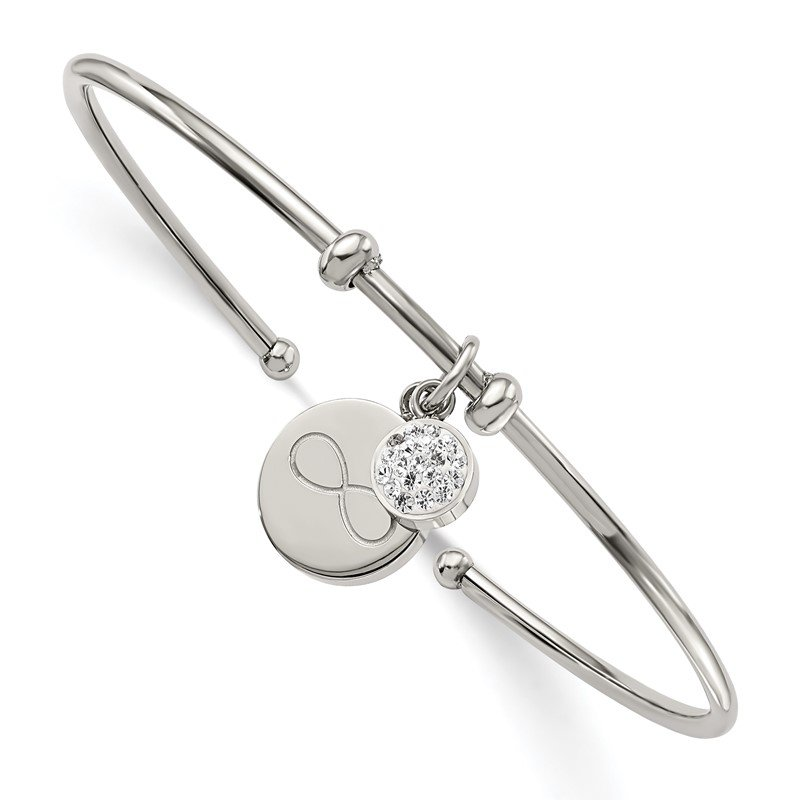 Chisel Stainless Steel Polished w/Preciosa Crystal Infinity Dangles Flexible Bangl