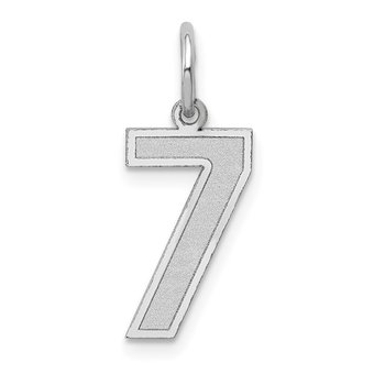 14k White Gold Medium Satin Number 7 Charm