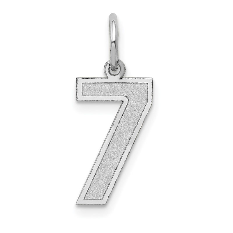 Quality Gold 14k White Gold Medium Satin Number 7 Charm