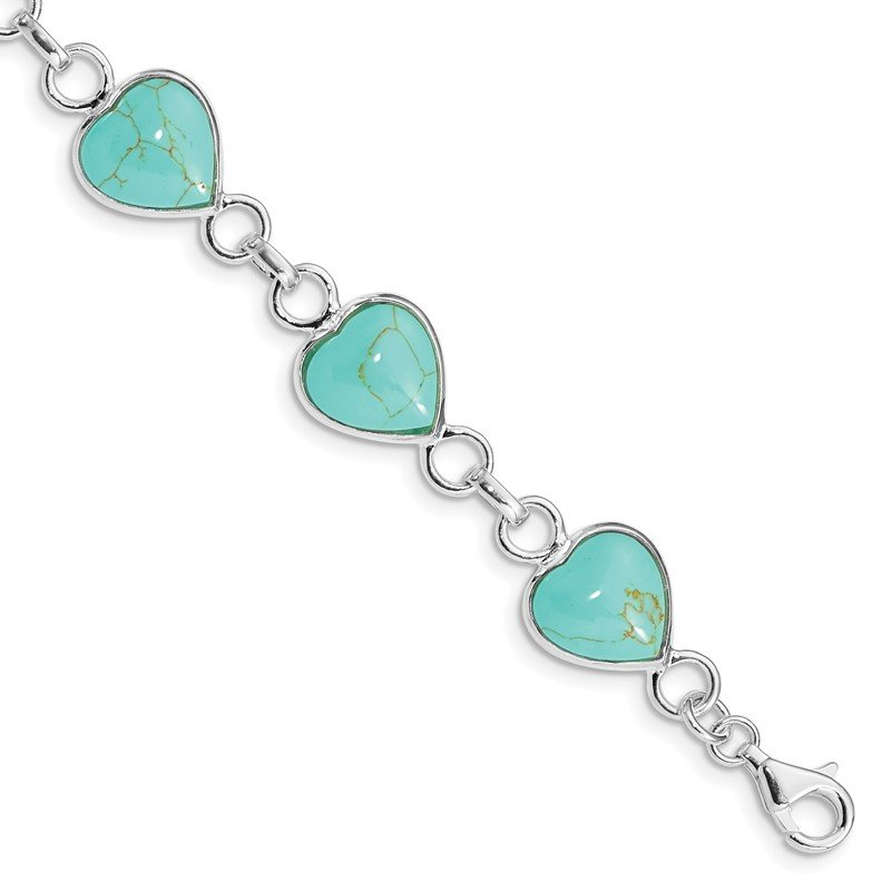 Quality Gold Sterling Silver Rhodium-plated Heart-shaped Turquoise Bracelet