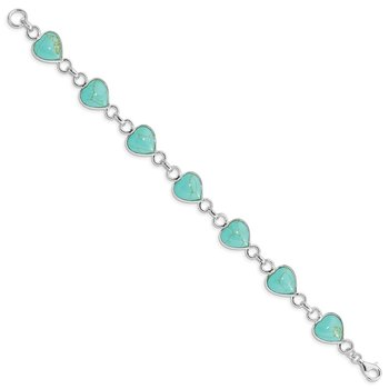 Sterling Silver Rhodium-plated Heart-shaped Turquoise Bracelet