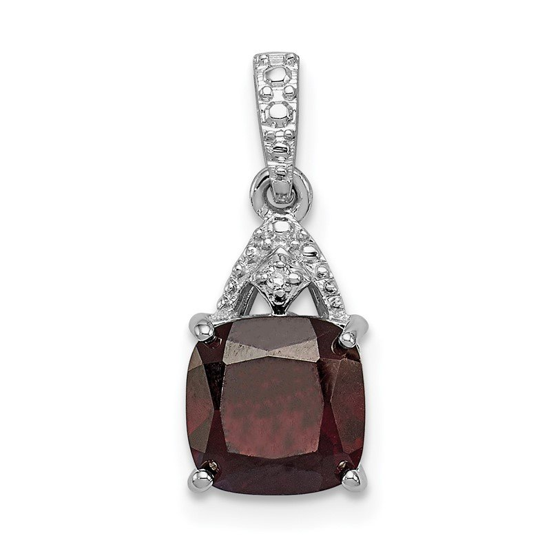 Quality Gold Sterling Silver Rhodium Plated Diamond Garnet Cushion Pendant