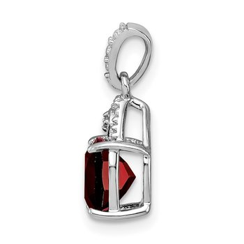Sterling Silver Rhodium Plated Diamond Garnet Cushion Pendant