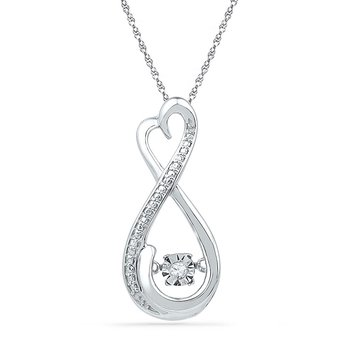 10kt White Gold Womens Round Diamond Infinity Moving Twinkle Pendant .03 Cttw