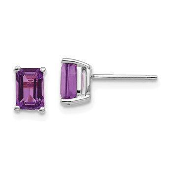 14k White Gold 6x4mm Emerald Cut Amethyst Earrings