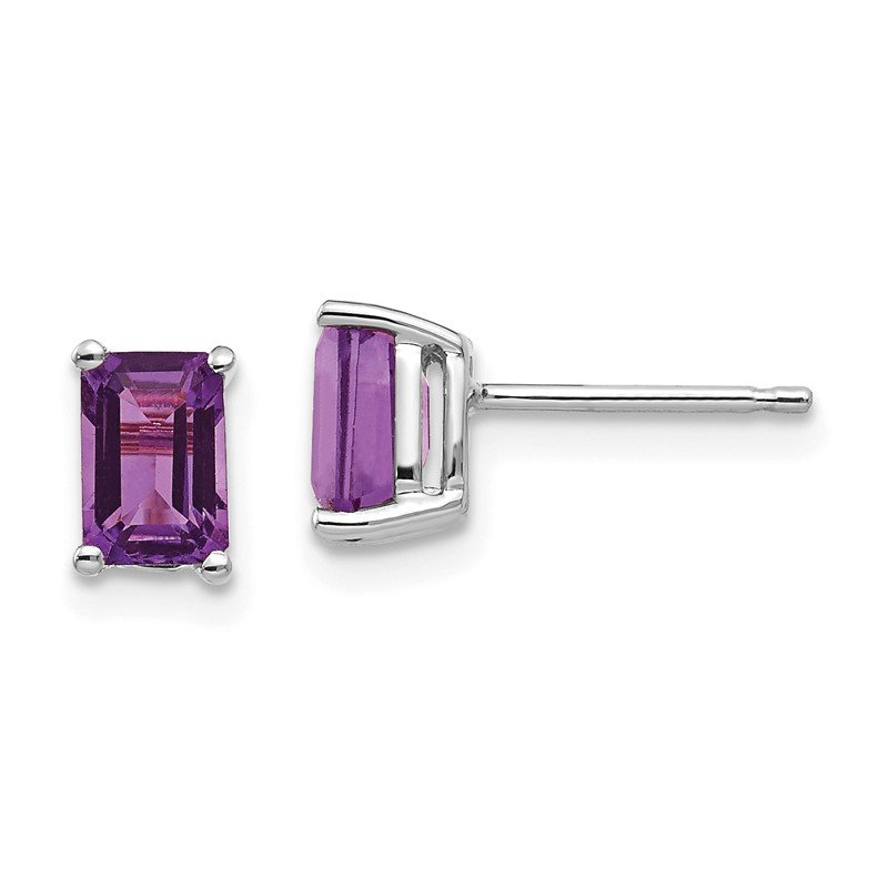 Quality Gold 14k White Gold 6x4mm Emerald Cut Amethyst Earrings