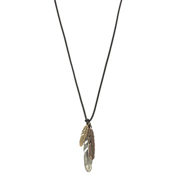 Pendant Necklace with Silver/Brass Bronze Leaves