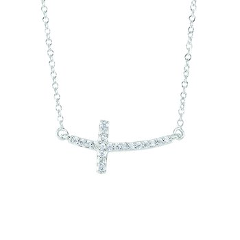 14K Gold .12ct Diamond Side Cross Necklace