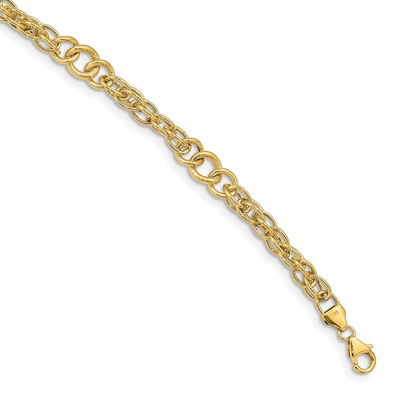 Quality Gold 14k Polished & Textured Fancy Link Bracelet
