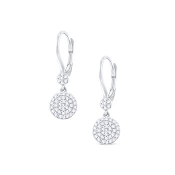 14K Gold and Diamond Disc Earrings