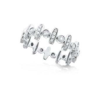 Diamond Fashion Stack Ring in 14K White Gold with 60 Diamonds Weighing .41 ct tw