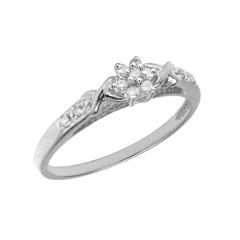 Sterling Silver Diamond Cluster Ring