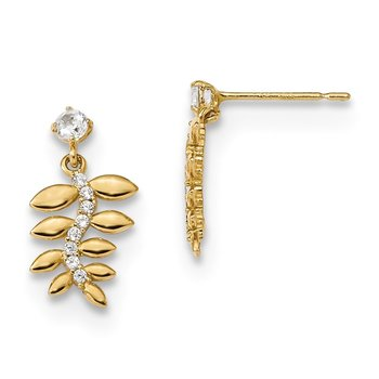 14k Madi K Kids CZ Fern Leaves Dangle Post Earrings
