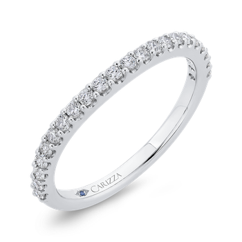 Round Half-Eternity Diamond Wedding Band In 18K White Gold