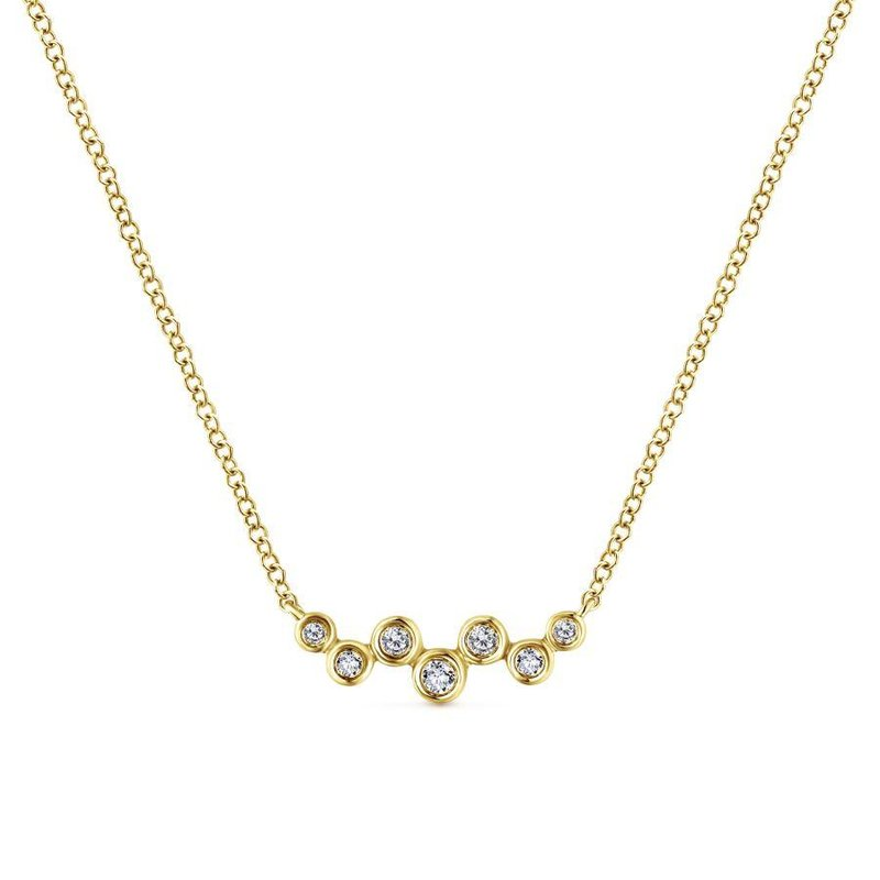 Gabriel Fashion 14K Yellow Gold Zig Zag Round Diamond Bar Necklace