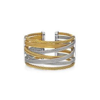 Yellow & Grey Cable Interlaced Bracelet with 18kt White Gold