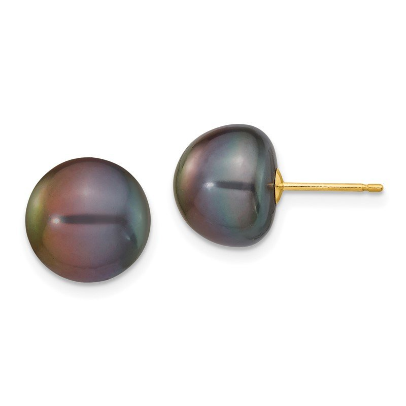 Quality Gold 14k 10-11mm Black Button FW Cultured Pearl Stud Post Earrings