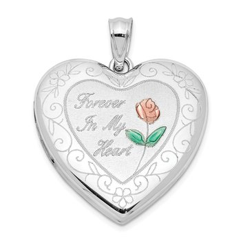 Sterling Silver Rhodium-plated Epoxy Rose Ash Holder Heart Locket