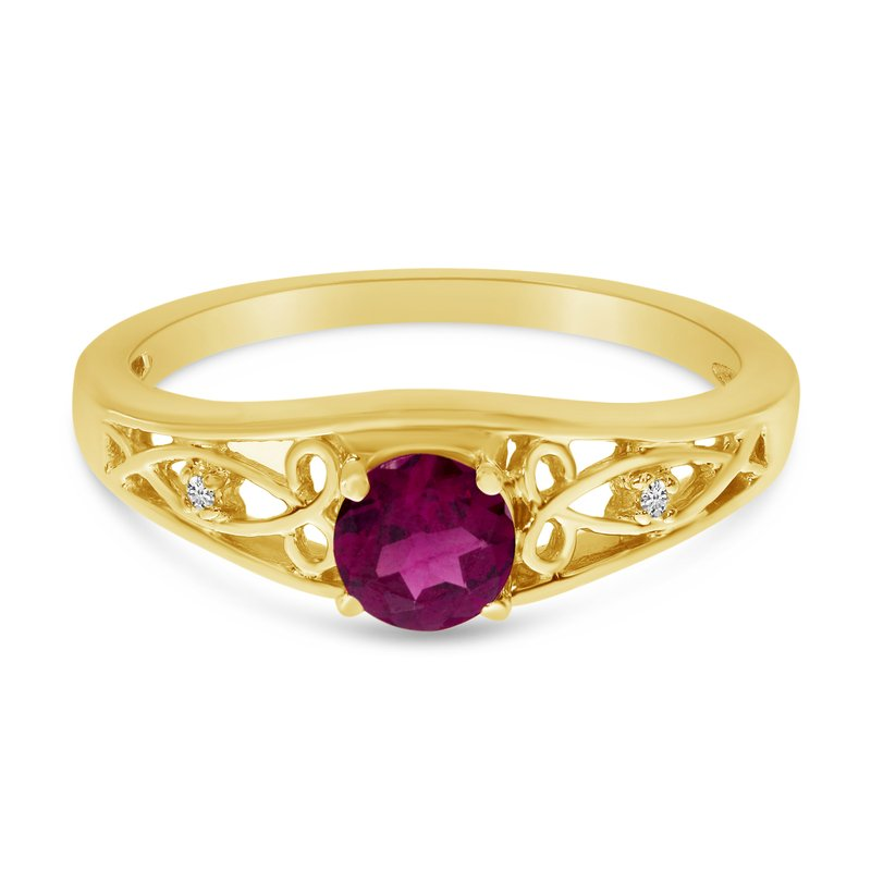 Color Merchants 10k Yellow Gold Round Rhodolite Garnet And Diamond Ring