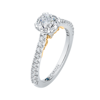 Round Cut Diamond Engagement Ring In 18K Two-Tone Gold (Semi-Mount)