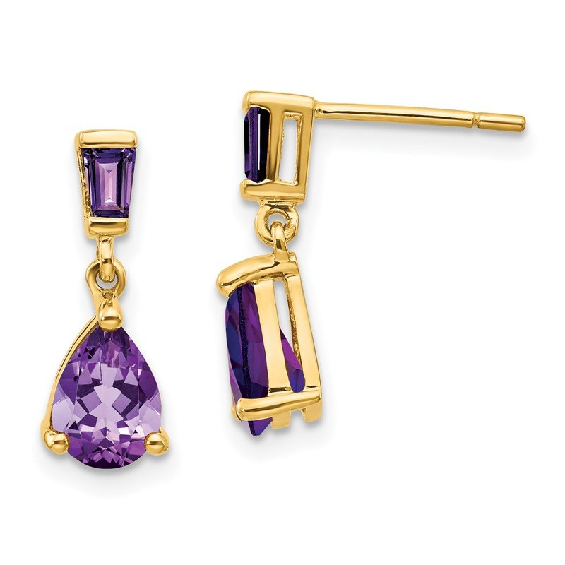Quality Gold 14k Gold Amethyst Dangle Post Earrings