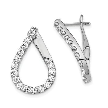 Sterling Silver CZ Post Teardrop Dangle Earrings