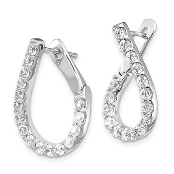 Sterling Silver RH-plated CZ Post Teardrop Dangle Earrings