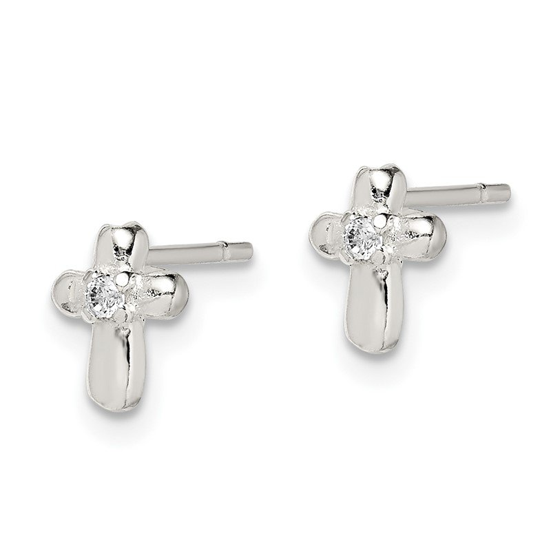 Lester Martin Online Collection Sterling Silver Cross with CZ Post Earrings