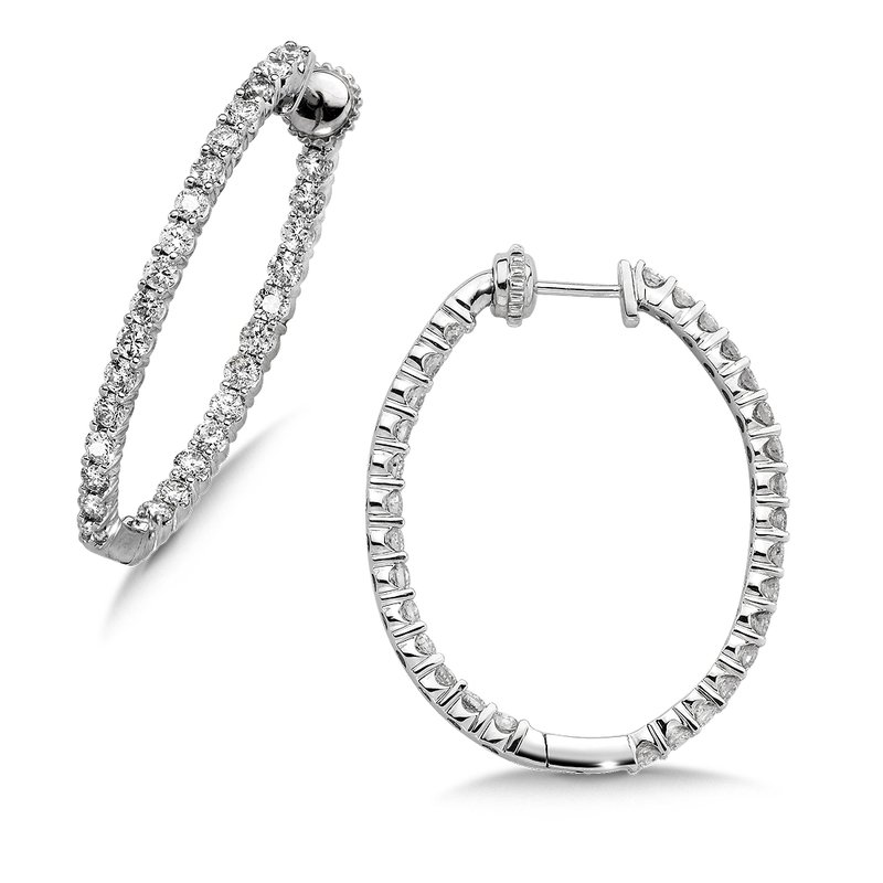 Pave set Diamond Oval Reflection Hoops in 14k White Gold (4ct. tw.) JK/I1