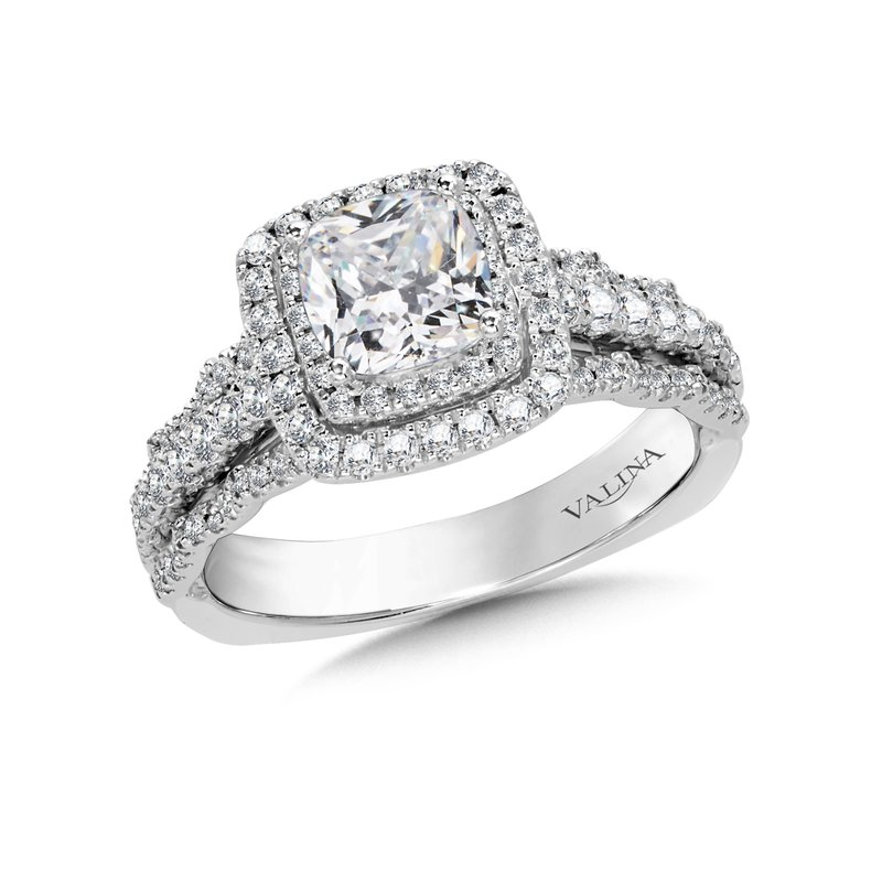 Valina Cushion Halo Engagement Ring Mounting in 14K White Gold (.64 ct. tw.)
