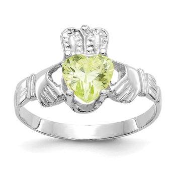 14k White Gold August CZ Birthstone Claddagh Ring