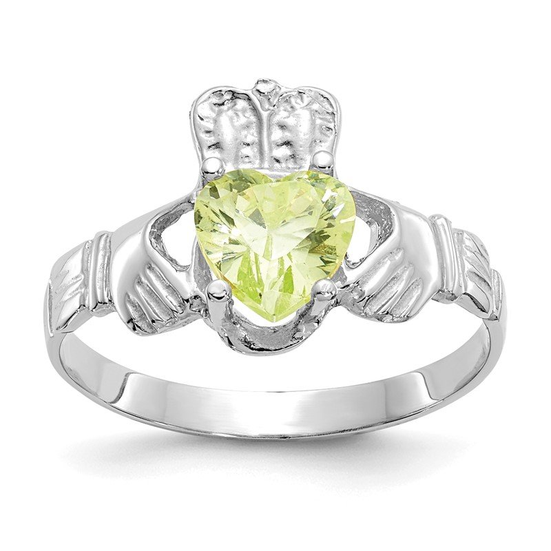 Quality Gold 14k White Gold August CZ Birthstone Claddagh Ring