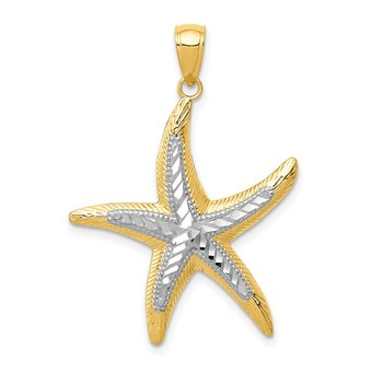 14K with White Rhodium Starfish Pendant