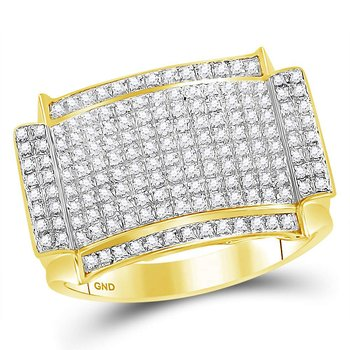 10kt Yellow Gold Mens Round Diamond Rectangle Cluster Ring 1/2 Cttw
