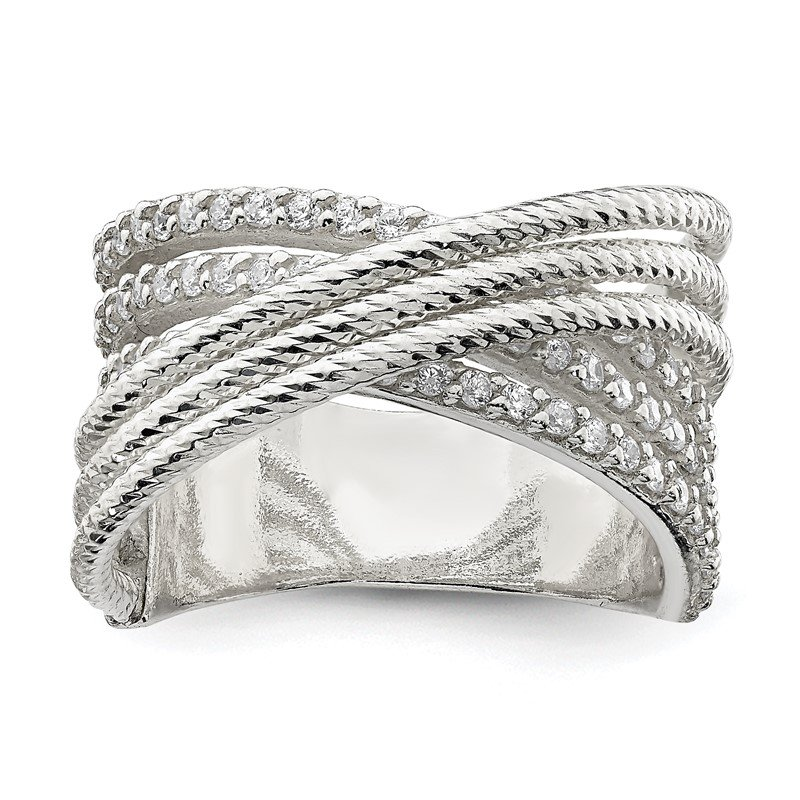 Fine Jewelry by JBD Sterling Silver CZ & Textured Twisted Band