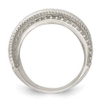 Sterling Silver CZ & Textured Twisted Band