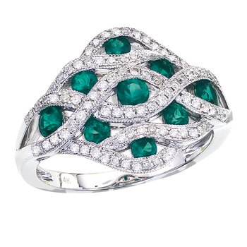 14k White Gold Flowing Emerald Diamond Ring