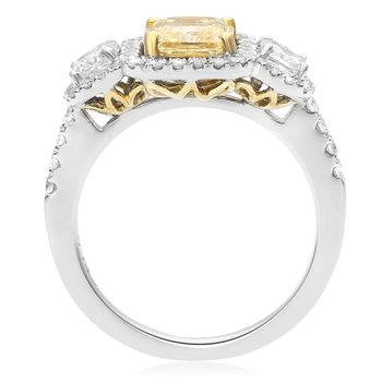Three Stone White & Yellow Diamond Ring