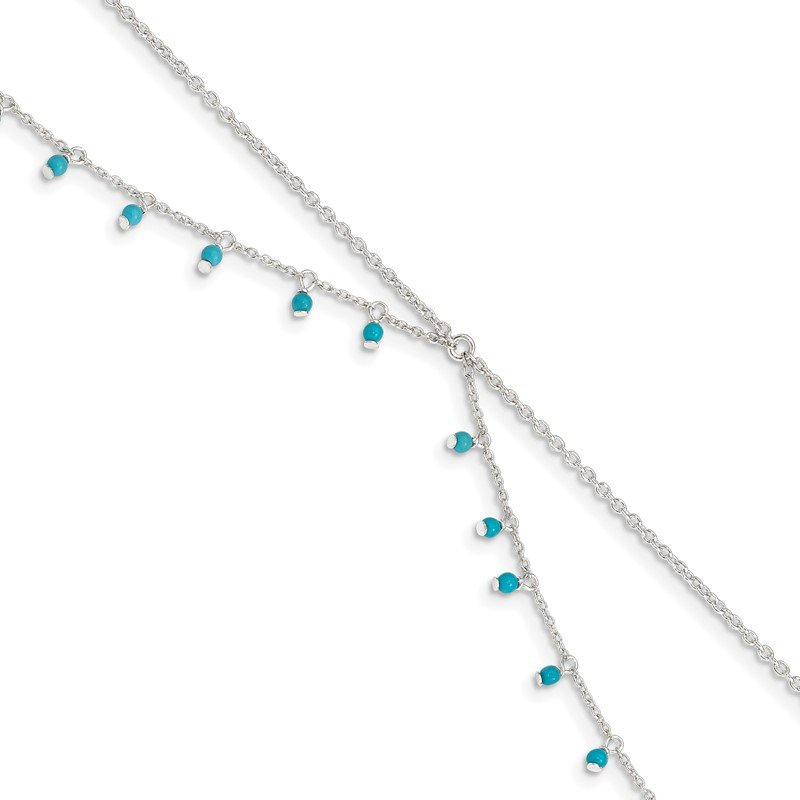 Quality Gold Sterling Silver Turquoise Beads Double Chain Anklet