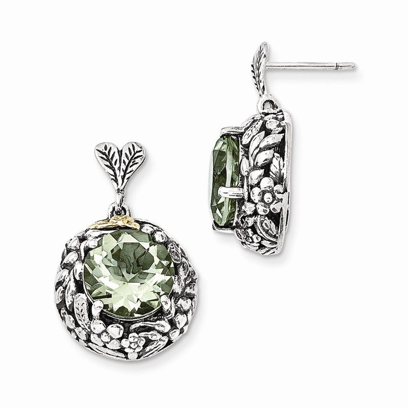 Shey Couture Sterling Silver w/14k Green Quartz Post Dangle Earrings