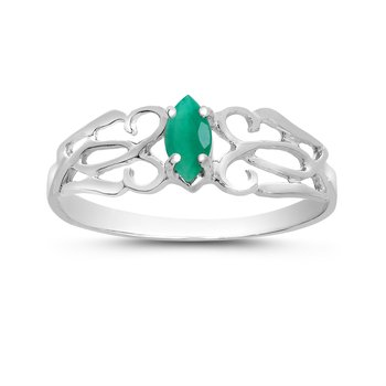 14k White Gold Marquise Emerald Filagree Ring