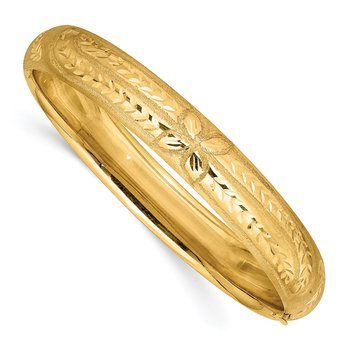 14k 7/16 Oversize Florentine Engraved Hinged Bangle Bracelet
