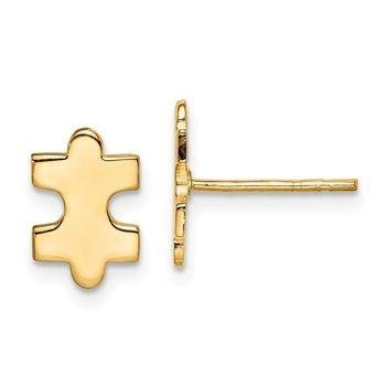 Sterling Silver Gold-Tone Polished Puzzle Piece Post Earrings
