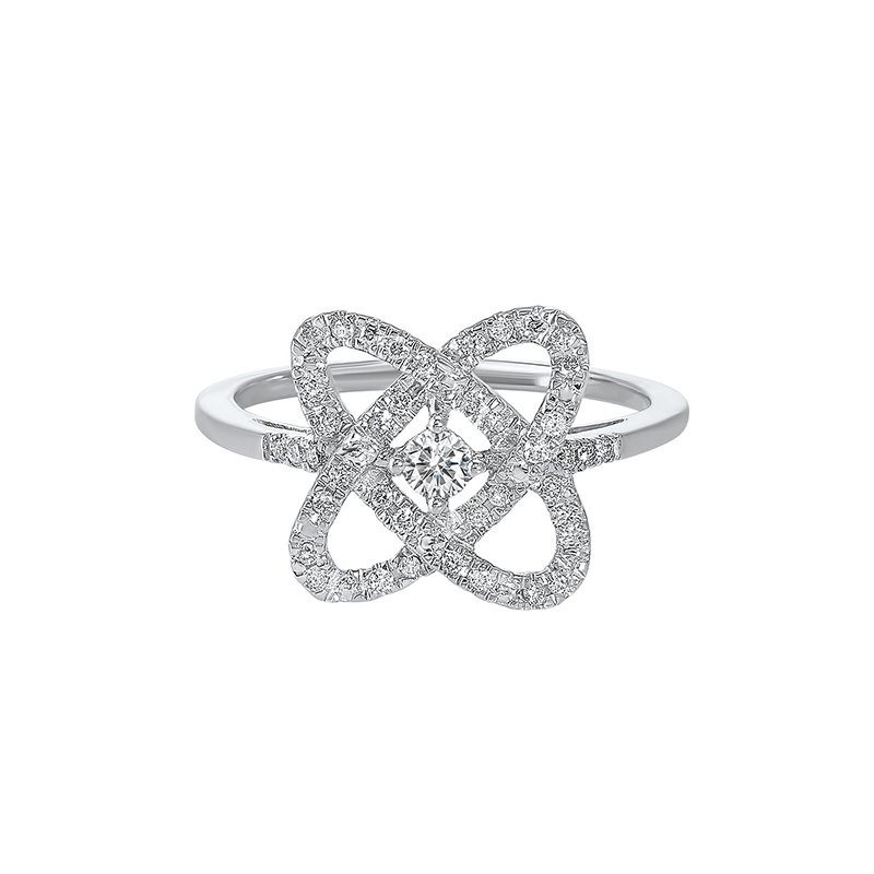 Gems One Diamond Infinity Love Heart Knot Promise Ring in 14k White Gold (1/4ctw)