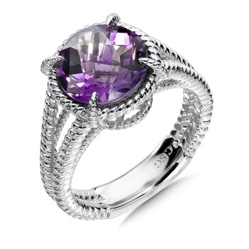 Sterling Silver Amethyst Split Shank Ring