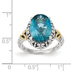 Shey Couture Sterling Silver w/14ky London Blue Topaz Oval Ring