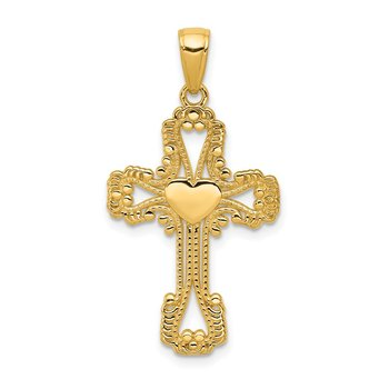 14K Beaded Cross with Heart Pendant